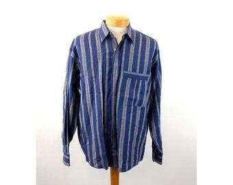 Alexander Julian linen shirt long sleeved striped shirt blue Size L  XL
