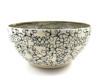 Pottery Serving Bowl with Multicolored Glaze and Black Patterns