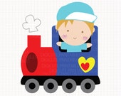 I Love Train Party Digital CLIP ARTS personal and commercial use for invitations, cupcake toppers, birthday cards, party supplies