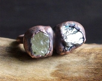 Raw Garnet Star Sapphire Ring Copper Small Stone Ring Birthstone January Size 5.5 Ring Raw Crystal Rough Stone Jewelry