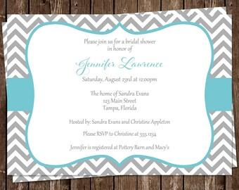 Bridal Shower Invitations, Chevron Stripes Wedding Shower Invites, Aqua, Gray, Set of 10 Printed Cards & Envelopes, FREE Shipping, STLOA