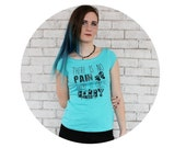 """Size SMALL READY To SHIP Roller Derby Tshirt """"There is no pain, there is only derby"""" Hand Screenprinted Tshirt, Boatneck Junior Fit Clothing"""