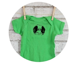 Bird Skull Baby Onepiece, Short Sleeved Apple Green Baby Bodysuit, Wild Animal, Bird-watching, Ornithology, Baby Shower Gift, Cotton Clothes