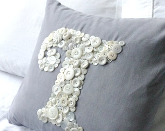 Custom Button Monogram Pillow