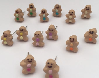 Pair of silver plated gingerbread man stud earrings choice of colours