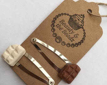 Pair of Novelty polymer clay white and milk chocolate bar snappy hair clips