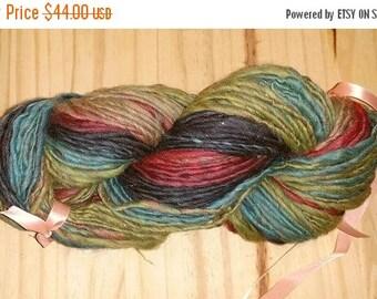 SALE - Handspun Wool Yarn Thick Thin - Forest Twilight - 168 Yards - 4.5 oz.