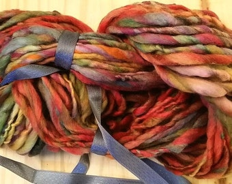 Handspun Wool Yarn - Merino Fiber - Fruit Stripe - 74 Yards