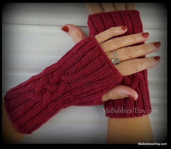 Alpaca Fingerless Gloves Knitted In Celtic Cable Pattern
