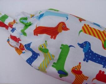 Plastic Grocery Bag Holder Dachshund, Weenie  Dog, Wiener Dog, Doxie Dog, in Blue, Green, Yellow Fabric