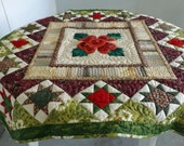 Quilted Table Topper, Quilted Wall Hanging, Lancaster Rose Wall Hanging Handmade