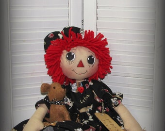 Primitive Raggedy Annie Doll with puppy