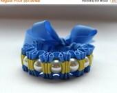 Clearance Sale Cerulean Blue and Lemony Yellow  Twilly Stripe Ribbon Bracelet  Fashion Jewelry Statement Bracelet Handmade Pearl Bracelet.