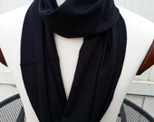 Soft Black Pure Cashmere Scarf * Infinity Neckwarmer * Men Women Teens by Tejidos on Etsy