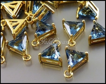 2 pcs blue sapphire triangle glass stones in gold setting with loop 5145G-BS