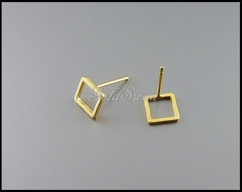 4 tiny matte gold plated 7mm open square stud earrings, minimal earrings, minimalist jewelry 1266-MG-7