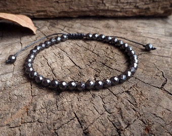 Hematite Faceted Unisex Knot Anklet, 6mm beads