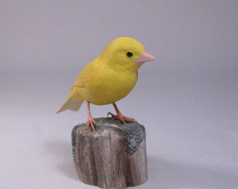 Yellow Canary Hand Carved Wooden Bird