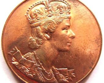 CANADA QUEEN ELIZABETH Canada coin 1953 Elizabeth Regina Coronata Coronation Bronze Medal