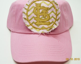 ADULT Baseball Raggy St. Louis Cardinals Pink and Metallic Gold Chevron Monogrammed Hat