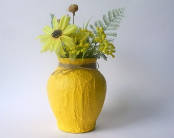 Bright Yellow Vase / Yellow Home Decor / made to order / flower vase / yellow home decor