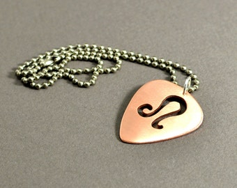 Copper guitar pick necklace with personalized zodiac cut out - NL561