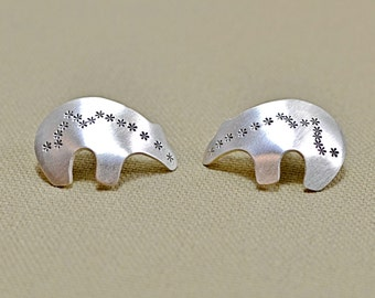 Sterling silver spirit bear stud earrings embodying southwestern and artisan elegance - solid 925 CL761