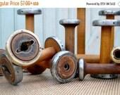 "SALE Today Vintage Bobbins 4"" 5"" & 6"" Small Wooden Textile Mill Spools Cap Spinner Home, Studio Decor Organize w Wood Bobbin Storage"