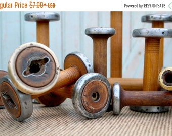 "RESERVED SALE Today Vintage Bobbins 4"" 5"" & 6"" Small Wooden Textile Mill Spools Home, Studio Decor Organize w Wood Bobbin"