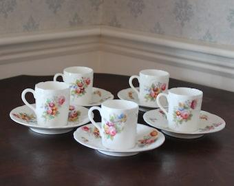 Set of 5 Floral English Bone China Coalport Tea Cups and Saucers