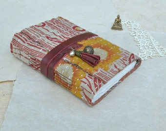 The Yoga Journal - Kantha Quilt Journal with Tassel and Prayer Box