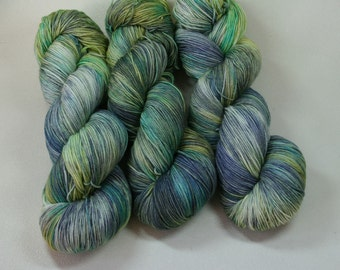 Broch Tuarach - Sassenach Sock yarn hand dyed merino gray yellow green