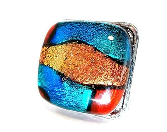 Dichroic Glass Ring/ Fused Glass Ring/ Adjustable Ring/Red, Teal and Orange