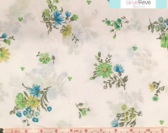 Twin Vintage Flat Sheet with Green Flowers