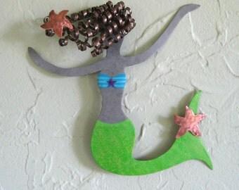 Mermaid metal wall art Rosie reclaimed metal marine art wall sculpture gift lime green  6 x 9