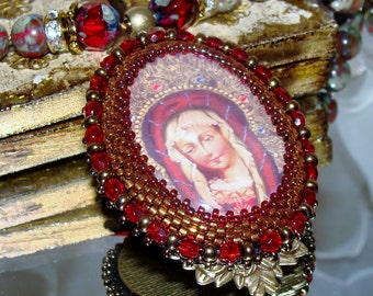 Our Lady Mary Halo bead embroidery hand knotted pendant necklace Sacred Jewelry Pamelia Designs