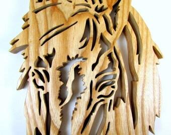 Horse Head Silhouette / Ash Hardwood / Wall Hanging / Fretwork Horse