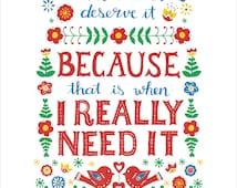 Love Me, Swedish Proverb, folk art, Hand lettered  print, red, white, birds, flowers, Valentines