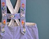 Vintage Light Blue Velvet Toddler's Swiss Lederhosen - Size 12-18 Months