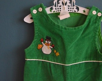 Vintage Toddler's Green Corduroy Overalls with Snowman Applique - Size 24 Months