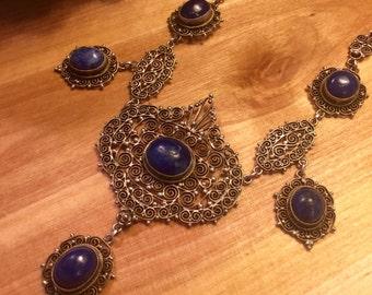 Stunning Peruzzi Renaissance Italian Silver Filigree Blue Sodalite Vintage Antique Festoon Bib Necklace