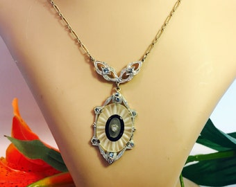 Beautiful Art Deco French Camphor Crystal Black Onyx Marcasite Silver Vintage Necklace Art Deco Jewelry