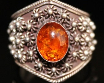 Mothers Day SALE Stunning Amber Middle Eastern Boho Ornate Sterling Silver Vintage Ring