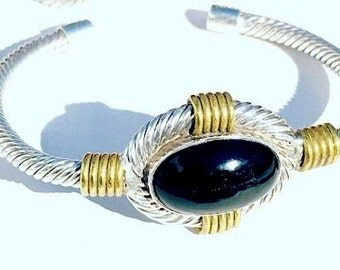 Beautiful Sterling Silver Cable Brass Black Onyx Vintage Mexican Modernist Bracelet