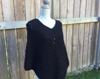 Cozy Poncho, Boho Poncho in Black, Crochet Poncho