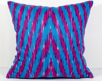 15x15 zig zag ikat pillow cover, blue ikat pillow cover, chevron ikat, pillows, ikats, blue red, blue red pillows, cushion, ikat throw