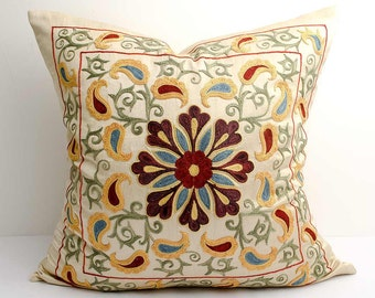 20x20 fully silk handmade embroidery suzani pillow cover, suzani pillowcase pillow shams, suzani embroidery, suzani pillows, uzbek pillows