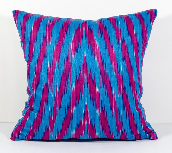 15x15 Throw Pillow Cover : 15x15 zig zag ikat pillow cover blue ikat pillow cover