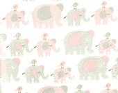 "Pink and Grey Elephant Flannel Fabric -40"" x 17"" - brand new, prewashed"
