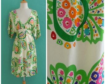 vintage green floral paisley print dress